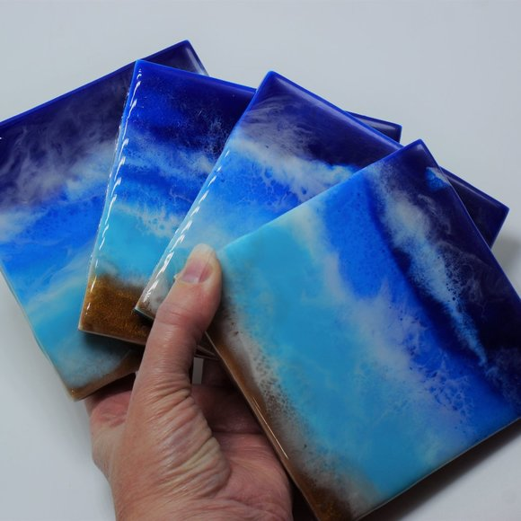 NWOT Ocean Wave Coaster Set, Ceramic Coasters